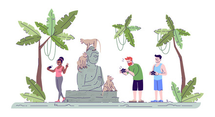 Tourists taking photos flat doodle illustration. People photographing primates and Buddha statue. Sacred monkey forest. Indonesia tourism 2D cartoon character with outline for commercial use