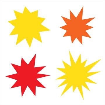Irregular sunburst badges set. Starburst isolated for promo flyers and advertising. Burst for comics
