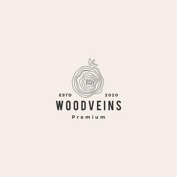 tree wood veins logo vector icon illustration hipster retro vintage