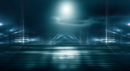 Fotomurales - Futuristic empty night scene with spotlights and neon blue light. Reflection on the wet asphalt of the city night lights. Abstraction of light.