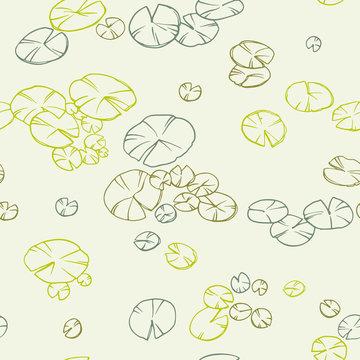 Decorative seamless lily pads. Ornamental line art hand drawing.