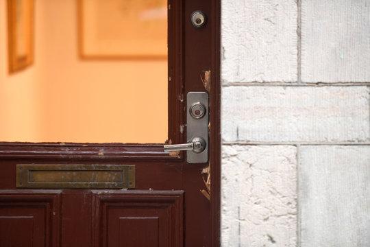 The door of an art gallery is seen where Salvador Dali works have been stolen, in Stockholm