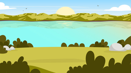 Field view flat vector illustration. Sunrise in valley. Water stream. Scenic park opening with lake. Outdoor panoramic scene. Sunset on green hill. Green environment cartoon background