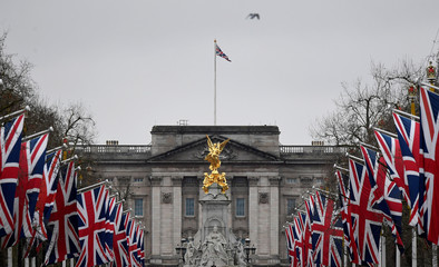 British union flags are seen along The Mall, with Buckingham Palace behind, London, Britain