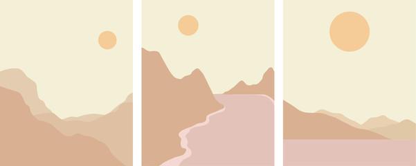Keuken foto achterwand Beige minimal landscape set earth tones color palette,vector