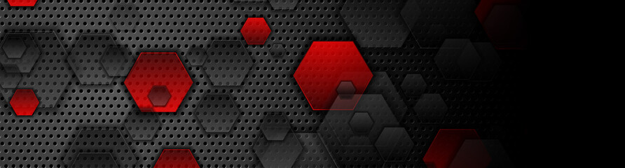 Red and black hexagons on dark perforated metallic background. Abstract technology banner design. Vector illustration