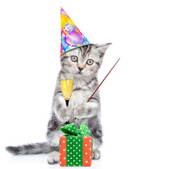 Cat wearing a birthday`s hat holds glass of champagne, stands with gift box and points away on empty space. isolated on white background