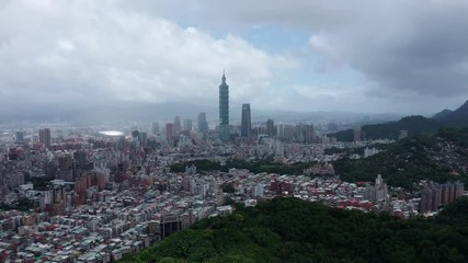 Fototapete - Aerial view of Business district in city of Taipei, Taiwan