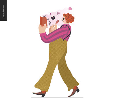 World Book Day graphics -book week events. Modern flat vector concept illustrations of reading people -a red-haired man wearing vinatge outlook walking, eating ice cream, reading a book about music