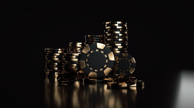 Black And Golden Casino Chips Isolated On The Black Background - 3D