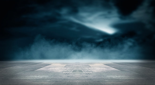 Futuristic empty night scene. Empty street scene background with abstract spotlights light. Night view of street light reflected on water. Rays through the fog. Smoke, fog, wet asphalt with reflection