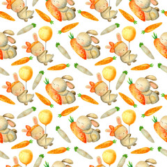 Set of Easter bunnies, carrots and butterflies. Easter watercolor illustrations on white background