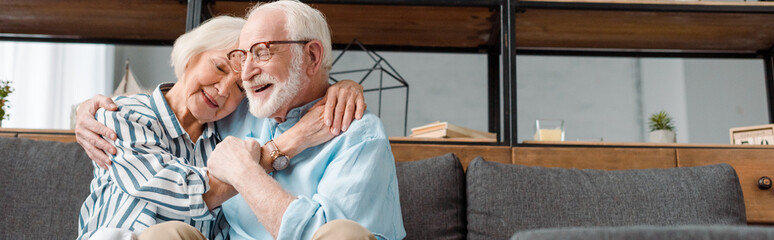Panoramic shot of smiling senior woman hugging husband on couch at home