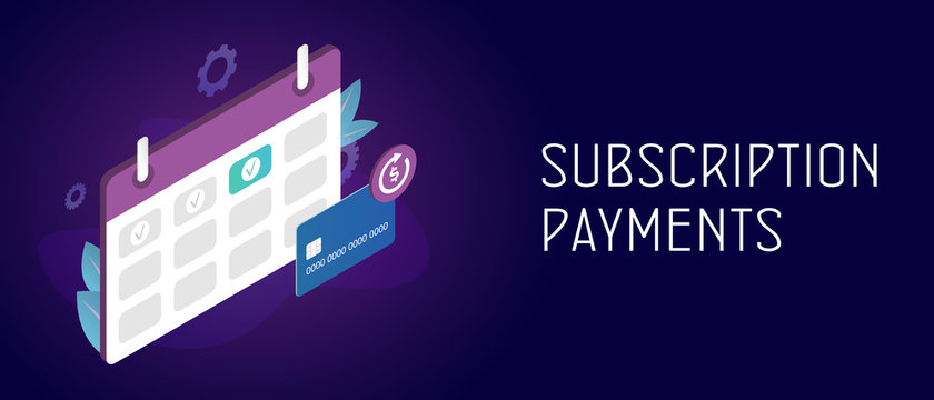 Subscription payment and monthly subscribe basis fee concept. Credit Bank card with a recurring payment icon and calendar with monthly payment date. Header and footer banner template with text.