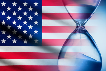 Stars and Stripes American flag with an hourglass