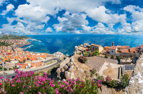 Wall mural Landscape with Medieval town of Castelsardo, Province of Sassari, Sardinia, Italy