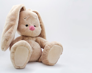 The soft toy bunny sits on a light background