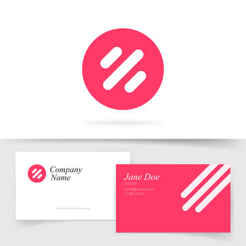 Round abstract logotype with lines or red logo template design vector symbol with business card template, simple modern trendy technology brand sign isolated on white clipart