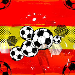 abstract background pattern, with soccer / football, paint strokes and splashes, grungy