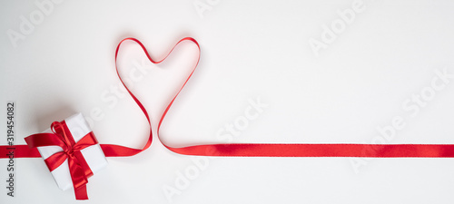 Valentines day. Continous line heart shape border ribbon on white background. Valentines day, marriage, mother day, love concept.