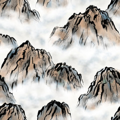 Mountains and clouds, seamless pattern hand-drawn in chinese style