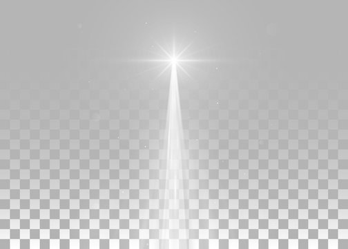Abstract white laser beam. Isolated on transparent background. Vector illustration, eps 10.