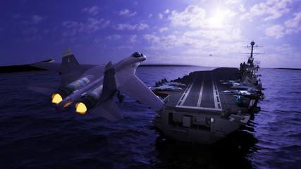 Russian jet fighter landing to runway on aircraft carrier ship 3d render Fototapete