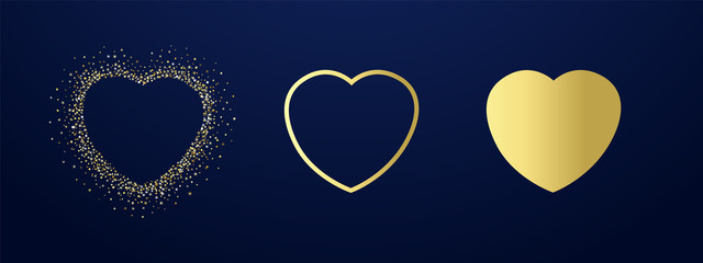 Collection of golden hearts illustration with dust glitter. Glorious decorative love sign shiny design on dark background for happy valentines day. Vector illustration
