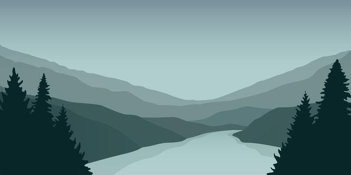 big green river nature landscape outdoor adventure vector illustration EPS10