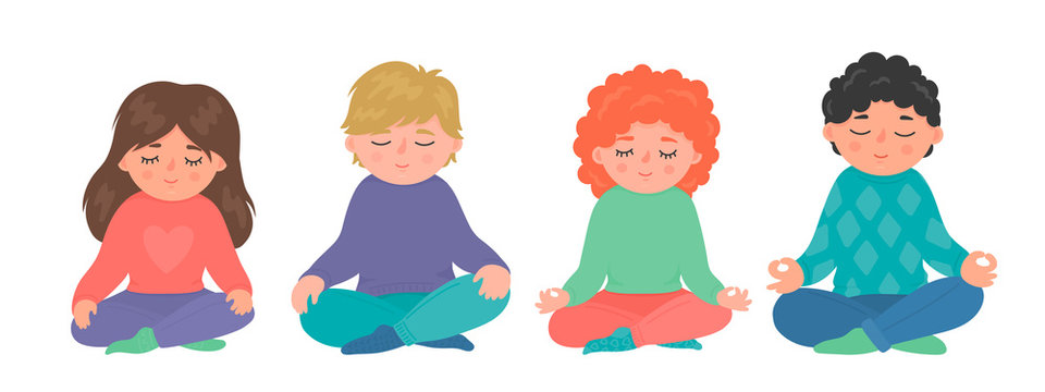 Children meditation set. Group of little girls and boys sitting in lotus pose and meditating. Cute yoga, mindfulness, relax vector illustration isolated on white background.