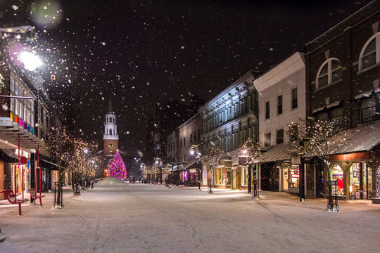 Snowfall in New england town