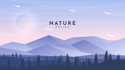 Fototapete - Modern geometry background. Flat wallpaper. Polygonal design. Himalayan mountains. Realistic woods. Website or game template. Cartoon backdrop. Pink triangle sky. Falling asteroids. Summer season