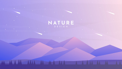 Fototapete - Minimalist vector background. Natural design. Trees silhouette near polygonal mountains. Violet color of sunset. Clear sky with asteroids. Website or game template. Panoramic wallpapers. Backdrop