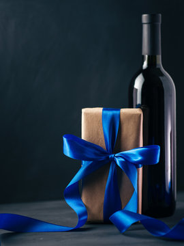 gift for Valentine's day or wedding and a bottle of wine with glasses