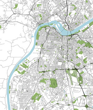 map of the city of Louisville, Kentucky, USA