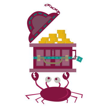 A treasure chest carried over the crab's head. with a simple cartoon illustration design. suitable as an interesting symbol.