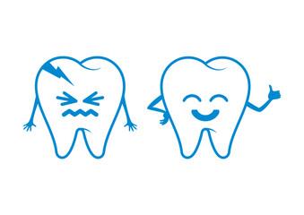 Two teeth cartoon character. Rotten tooth cartoon character. Bad tooth vector icon. Happy and sad teeth vector. Toothache vector