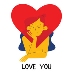 Cute young girl in love. Cartoon vector illustration for Valentines day in the modern flat style. Valentines day for print, postcard, t-shirt and more.