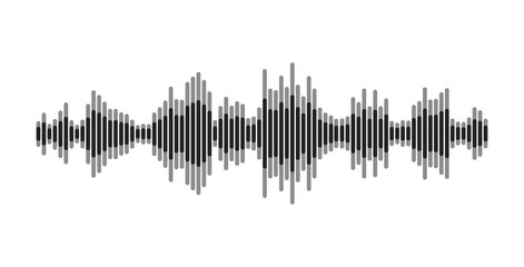 Black and white equalizer. Modern sound wave element, isolated on white background