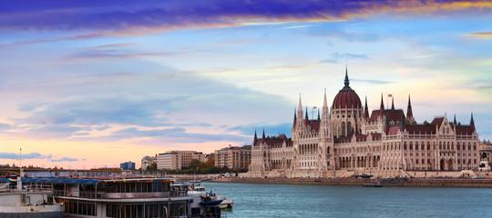 Hungary parliament at sunset