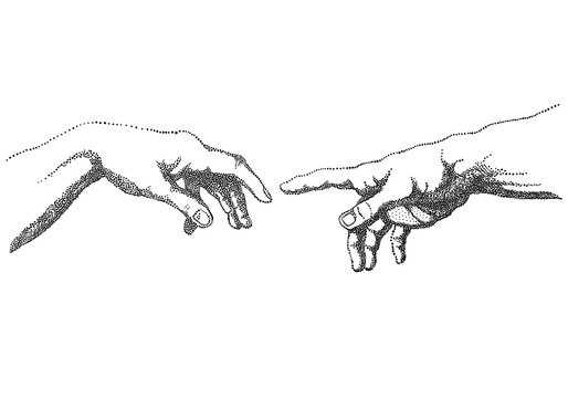 The Creation of Adam, vector hands