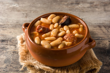 Typical Spanish fabada asturiana