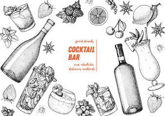 Alcoholic cocktails hand drawn vector illustration. Cocktails sketch set. Engraved style. Alcoholic drinks in glasses and bottles.
