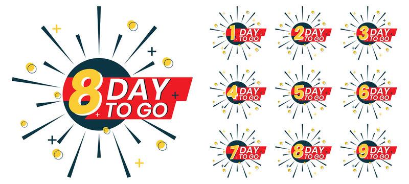 Number of days left to go, badges or sticker design for social media promotion.