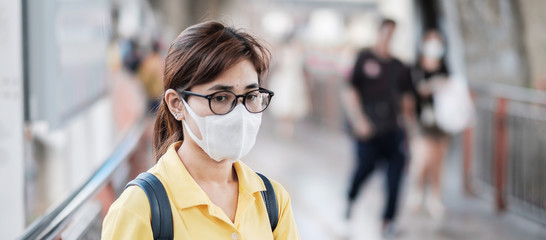 young Asian woman wearing protection mask against Novel coronavirus (2019-nCoV) or Wuhan...