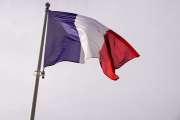 french France flag blue white red floats in the wind