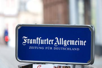 wetzlar, hesse/germany - 17 01 2020: frankfurter allgemeine newspaper sign in wetzlar germany