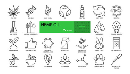 Vector hemp oil icons. The set consists of 25 images with an editable stroke. THC free, non GMO, bio, 100% pure, lab tested, natural ingredients, premium quality, GMP certified, no pesticides, cruelty