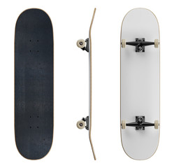 Blank skateboard deck template mockup - isolated on white