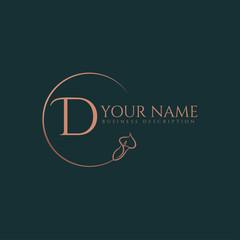 Fototapeta D initial letters of round flower elegant badge logo template obraz